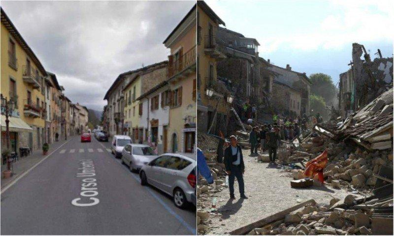 El casco histórico de Amatrice antes y después del terremoto.