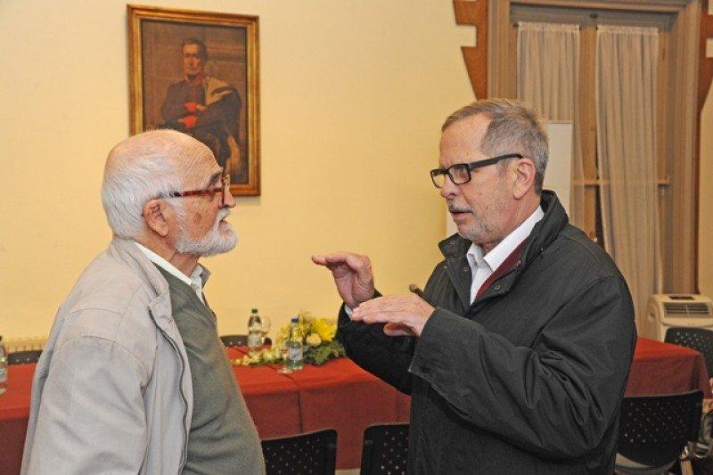 Esteban Dieste, hijo del Ingeniero Eladio Dieste, junto al consultor de Unesco, Ciro Caraballo