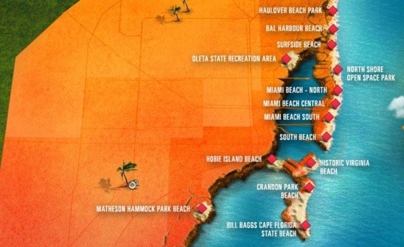 Localización de las playas del área metropolitana de Miami.