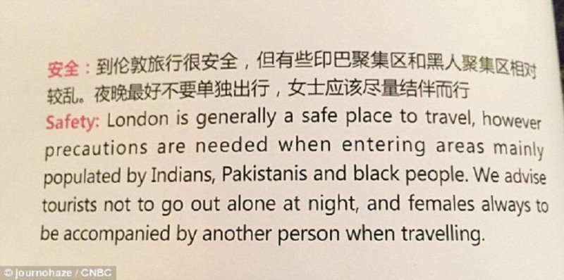 La recomendación racista de Air China que indignó a Londres