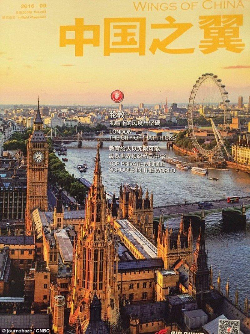 Portada de la edición de la revista de Air China que fue retirada.