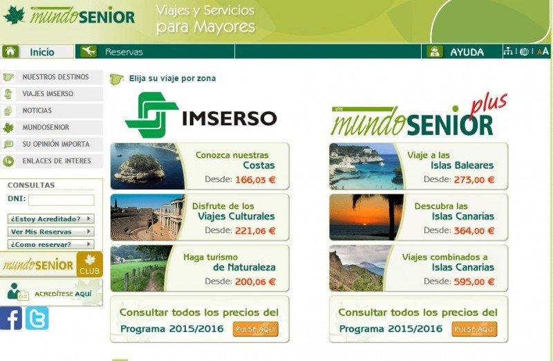 La oferta de Mundosenior Plus estaba junto a la del Imserso hasta mediados de noviembre de 2015.