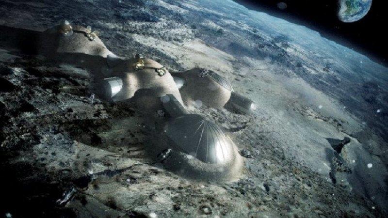 Representación artística de la primera colonia de la Unión Europea en la luna, denominada 'Aldea Lunar'.