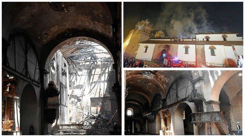 Así quedó el templo tras el incendio. Foto: Diario Correo