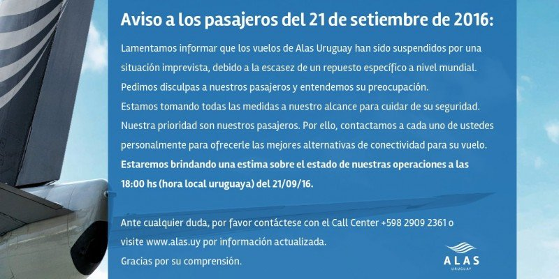 Alas Uruguay canceló sus vuelos por la falta de un repuesto