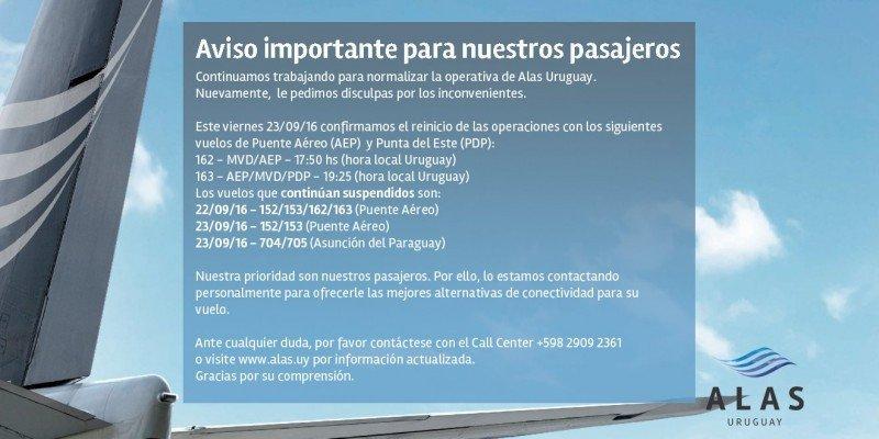 Alas Uruguay retomará algunos vuelos el viernes