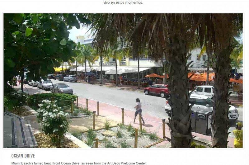 Imagen de Ocean Drive, Miami, tomada el viernes a las 19 horas (hora peninsular española).