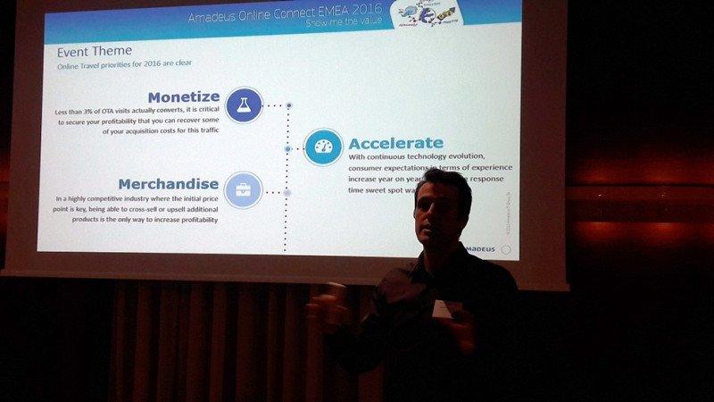 Sébastien Gibergues, responsable de Ocio y Turismo Online de Amadeus, en su presentación en Berlín.