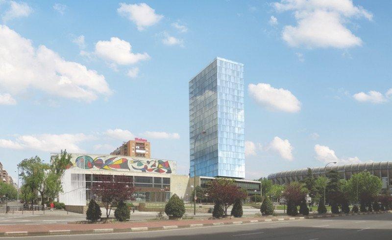 Simulación del proyecto, con un hotel de 23 plantas junto al Palacio de Congresos.