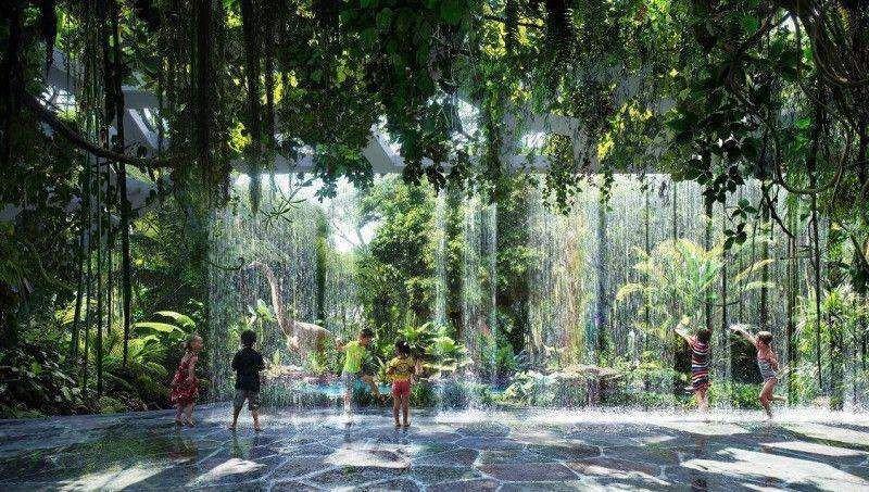 El futuro hotel reproducirá hasta lluvia tropical en una suerte de selva 'interior'. Imagen: ZASA.
