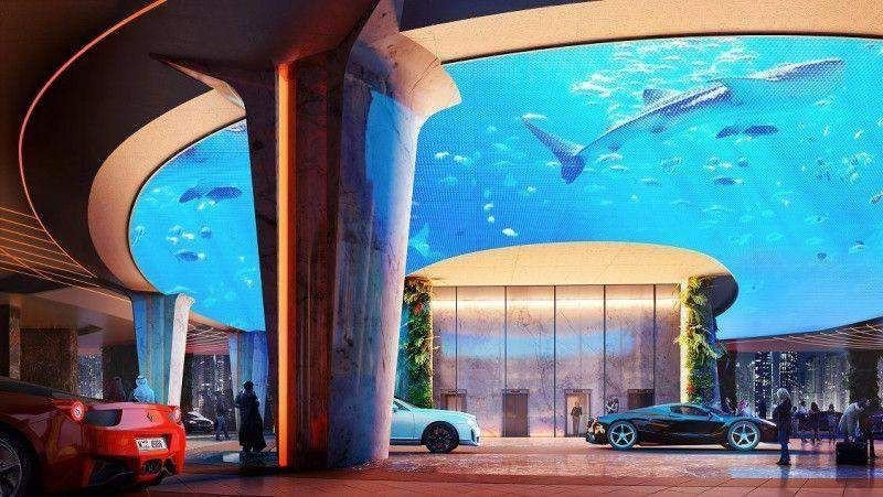 Las últimas tecnologías también sirven para reproducir un ecosistema submarino en pleno lobby del hotel.