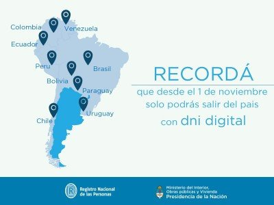 Argentinos no podrán viajar al MERCOSUR sin DNI digital