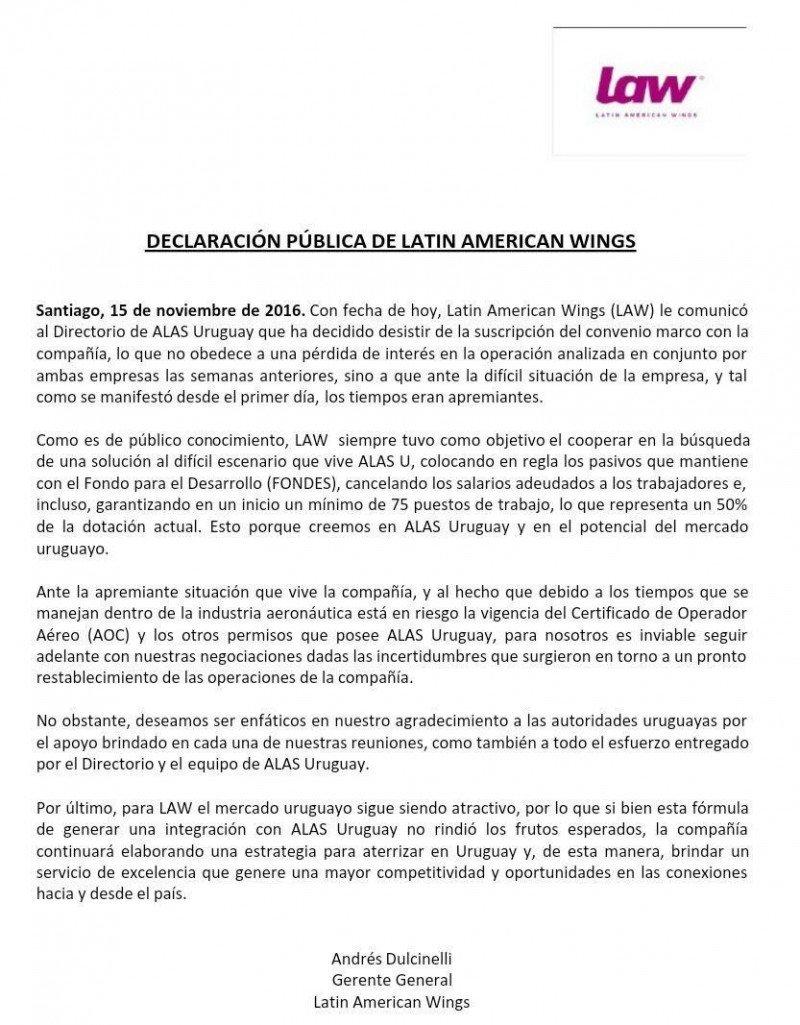 LAW da marcha atrás y no comprará Alas Uruguay