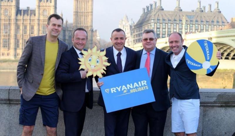 El acuerdo se ha presentado en Londres en la mañana de este jueves. En la foto aparecen, de izquierda a derecha: Greg O'Gorman, de Ryanair; Mark Neuschen, de W2M; Tommeu Bennasar y John Drysdale de Logitravel; y Kenny Jacobs, de Ryanair.
