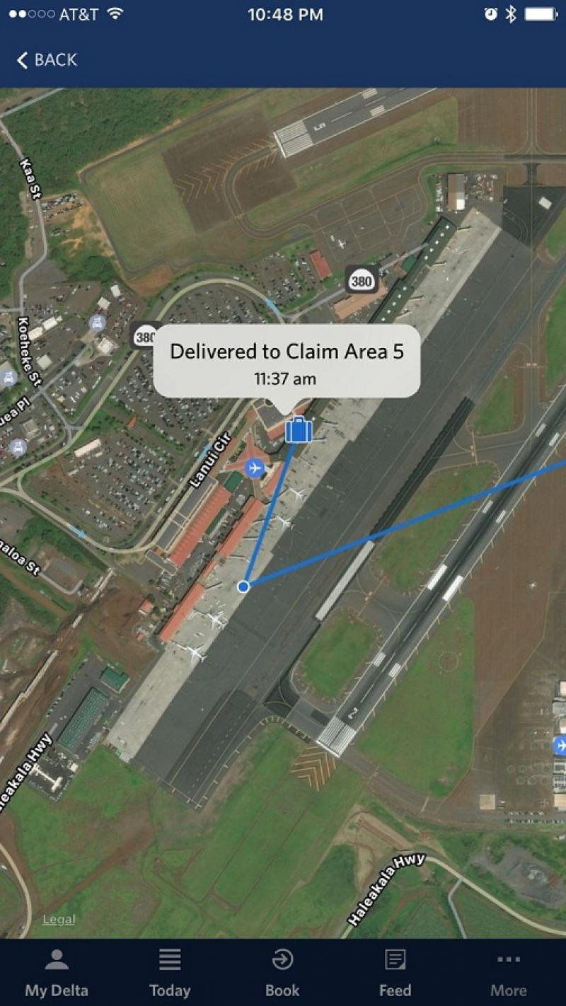 Primer mapa de seguimiento del trayecto del equipaje