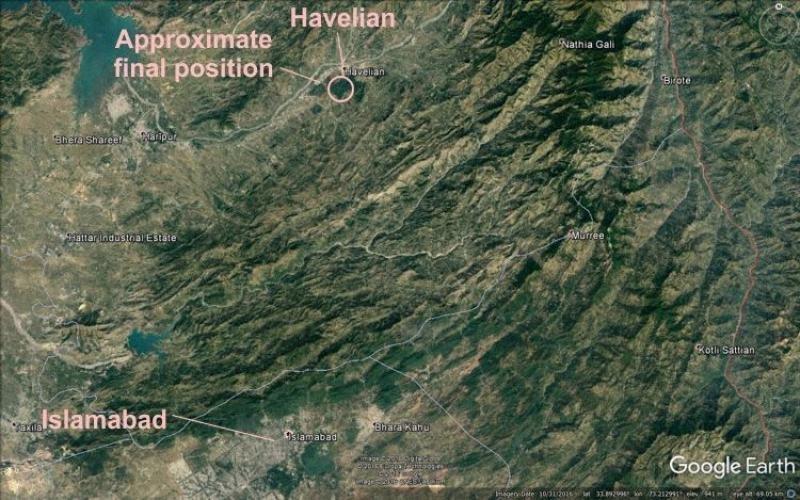 Mapa de localización del lugar delaccidente de PIA (imagen de The Aviation Herald).