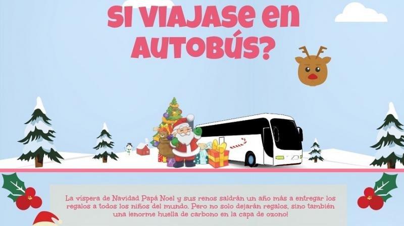 ¿Cuánto CO2 ahorraría Papá Noel si repartiese los regalos en autobús?