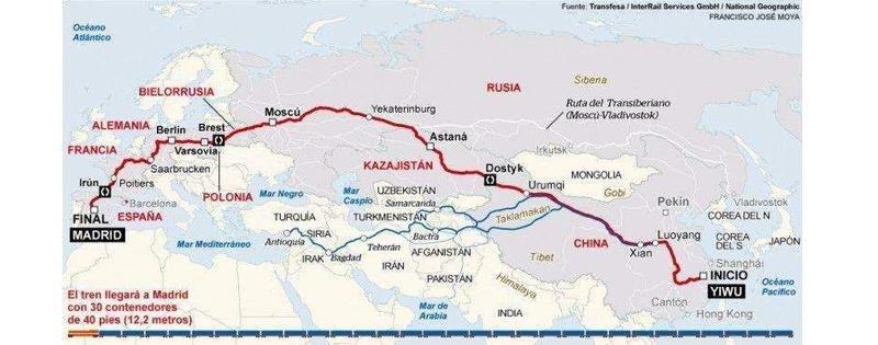El tren de carga China-España, el más largo del mundo, llevará pasajeros