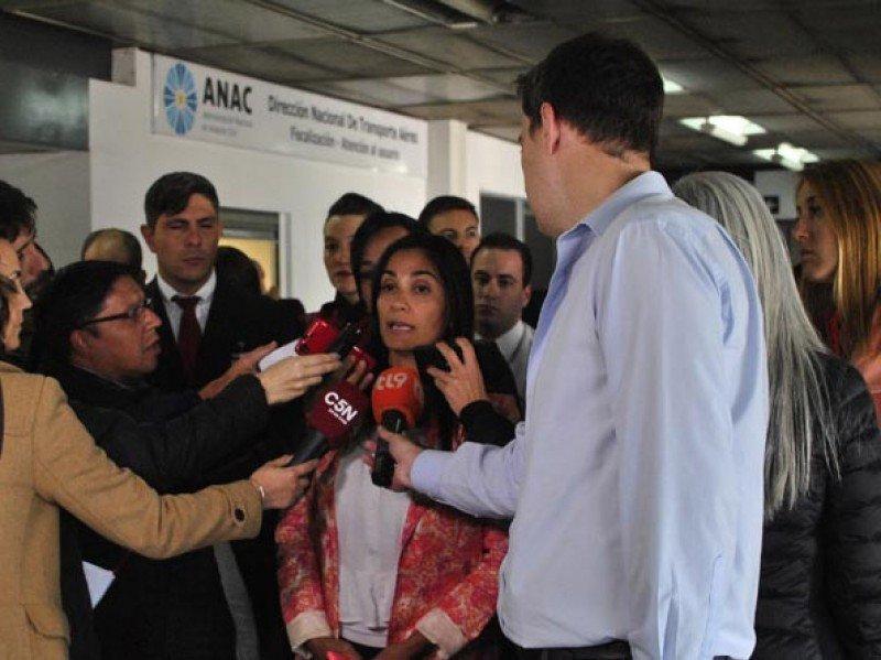 Paula Marconi tras una asamblea realizada en noviembre en Aeroparque.