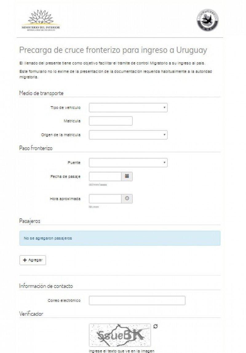 Formulario de precarag disponible en la web de la Dirección Nacional de Migración.