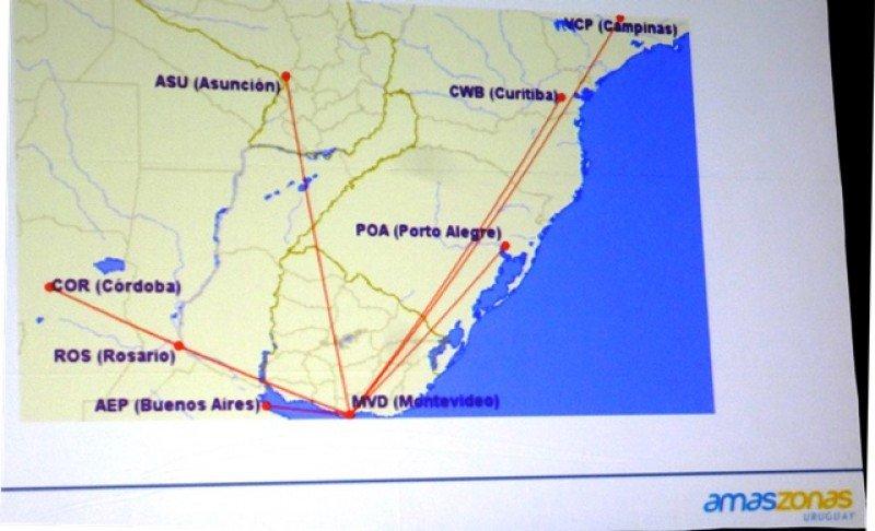 Malla de vuelos proyectada desde y hacia Montevideo.