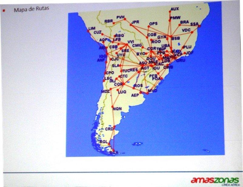 Red regional proyectada por el grupo Amaszonas desde sus diversas bases.