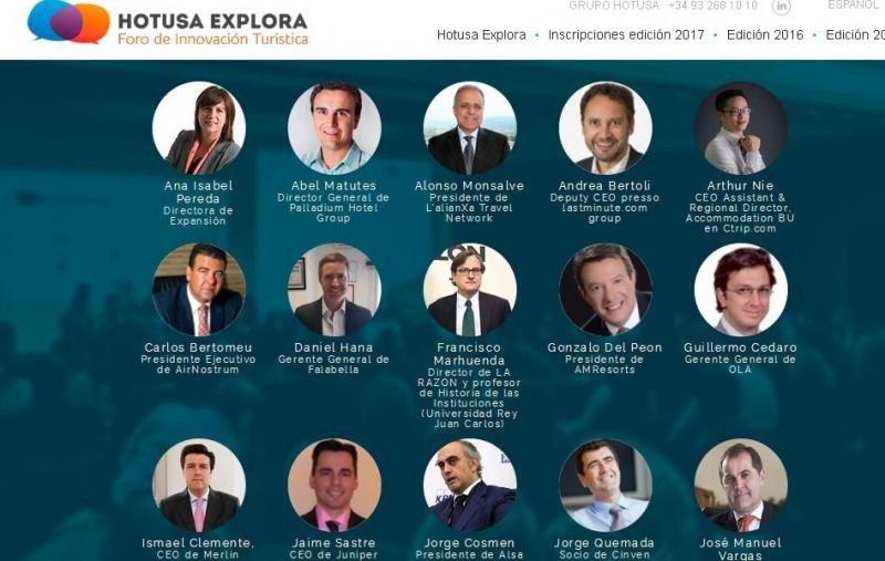 Cartel de la tercera edición del foro Hotusa Explora con las imágenes de algunos de los ponentes que participarán en él.