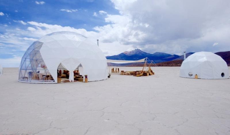 Hoteles pop-up en las salinas de Bolivia.