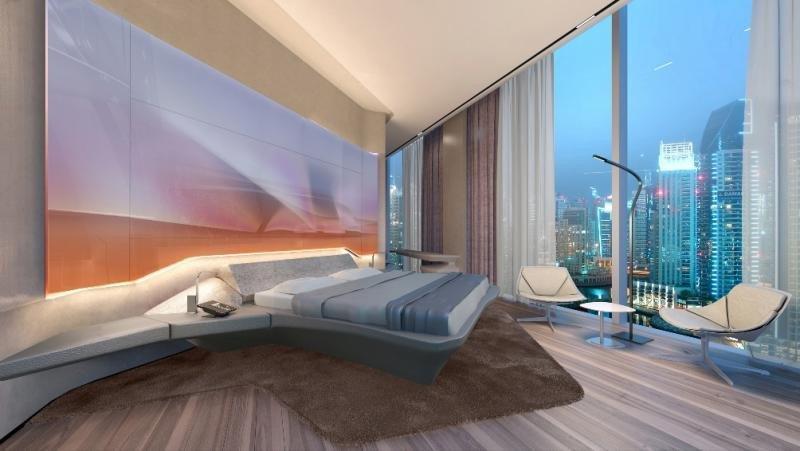 Una de las habitaciones del ME Dubai, diseñado por la fallecida Zaha Hadid.
