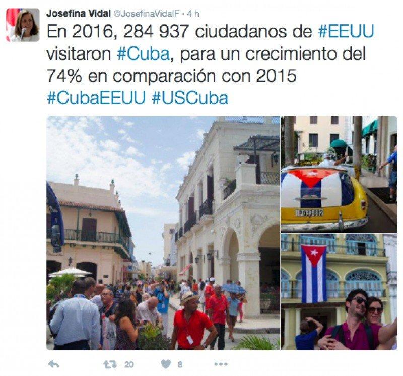 Visitantes de EEUU a Cuba crecieron un 74% en 2016, según datos oficiales