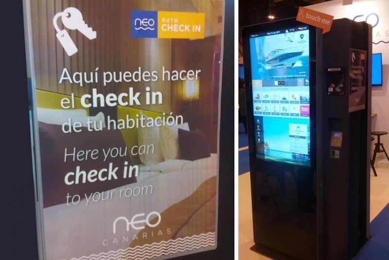Nuevo terminal de Neo Canarias e Informática El Corte Inglés para hacer el check in.
