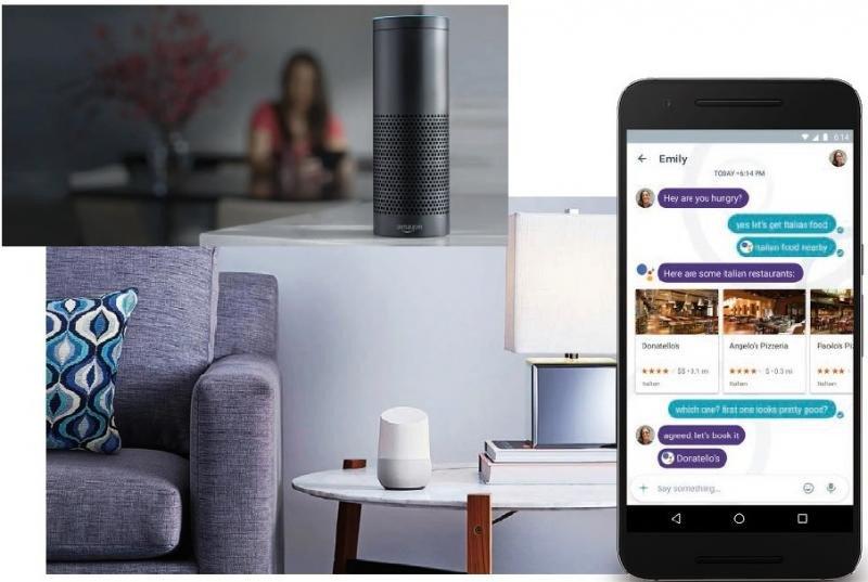 Asistentes para el hogar desarrollados por Amazon (foto superior) y Google (foto inferior), y asistente virtual para el móvil.