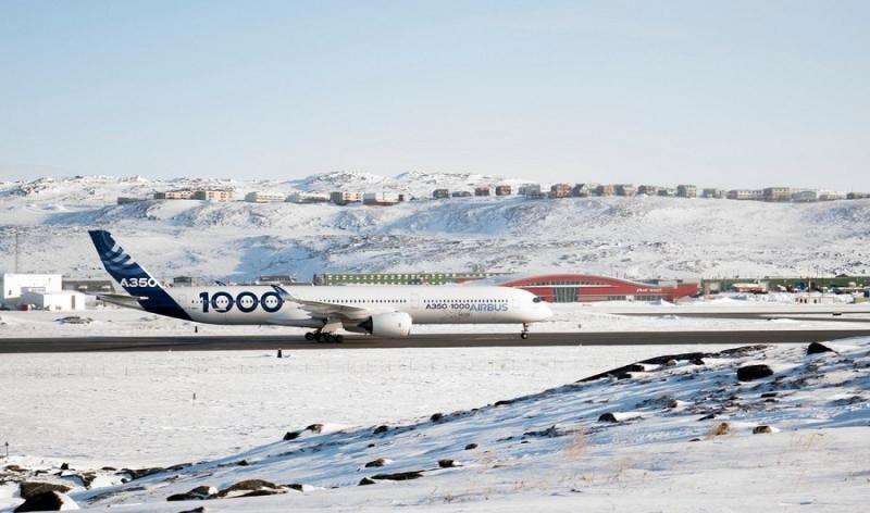 Airbus A350-1000 estuvo cinco días de pruebas en Iquluit.