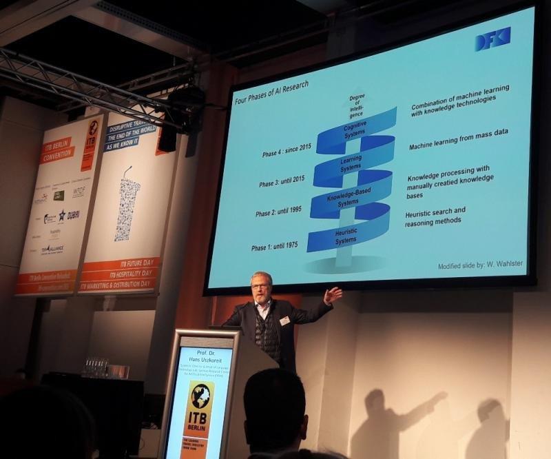El profesor Hans Uszkoreit explica en este gráfico las cuatro fases del proceso de aplicación de la inteligencia artificial.