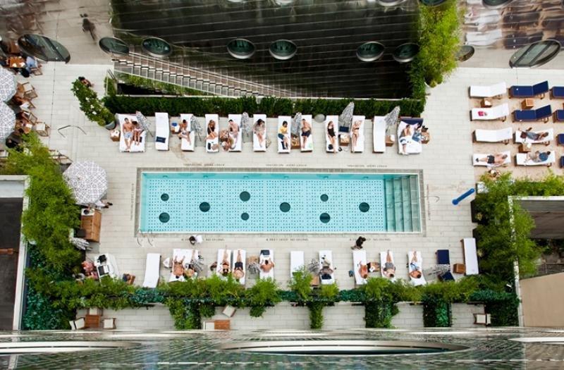 Las vistas de la piscina del Dream Downtown de Nueva York desde las habitaciones es un ejemplo de foto candidata a ser colgada en Instagram. Foto: Dream Hotel Group.