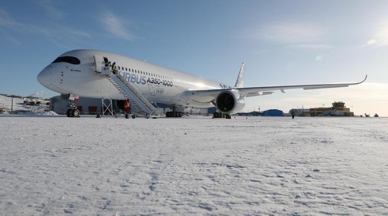 El Airbus A350-1000 completó con éxito las pruebas en frío extremo. Fotos y video: Airbus.