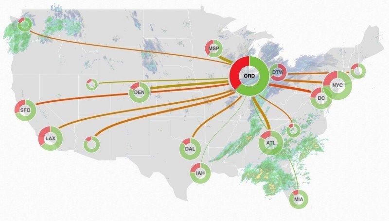Mapa de vuelos afectados en la mañana de este martes según FlightAware.