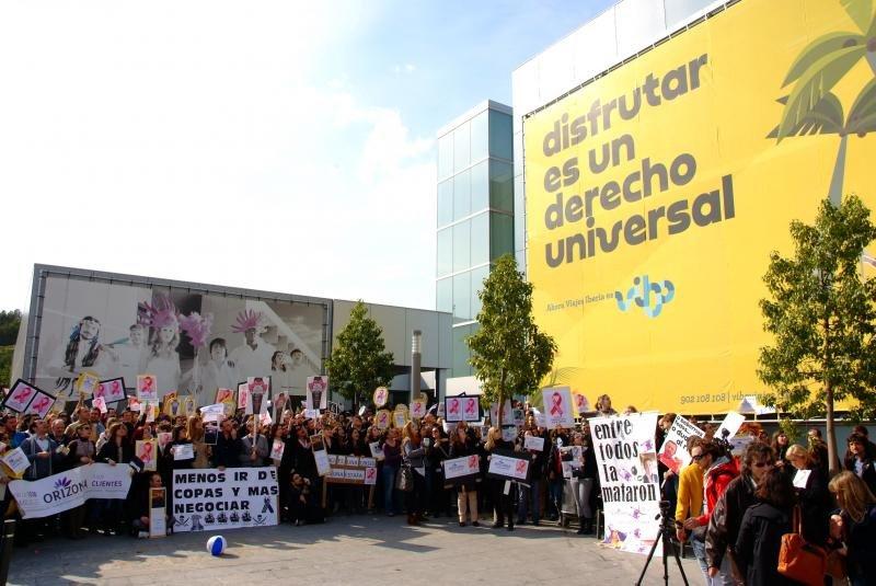 Trabajadores de Orizonia se manifiestaban al conocerse la situación del grupo, en 2013.