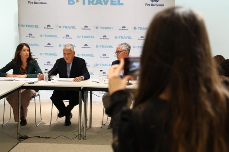 Presentación de la edición 2017, con la directora de B-Travel, Marta Serra, el presidente del salón, el hotelero Jordi Clos, y el director general de Turismo de Cataluña, Octavi Bono.