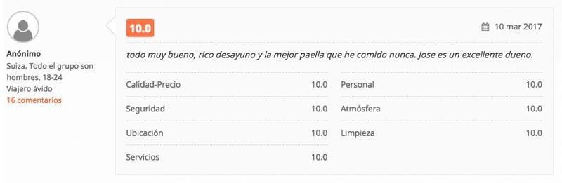 Los clientes valoran aspectos tan curiosos como una paella hecha por Jose, un Español que gestiona el hostel en México.