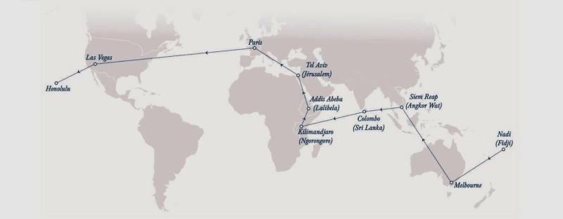 La vuelta al mundo en un crucero aéreo de 21 días