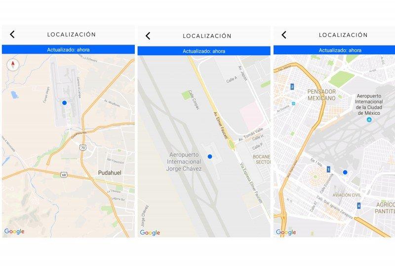 El punto azul marca dónde está la maleta en cada aeropuerto.