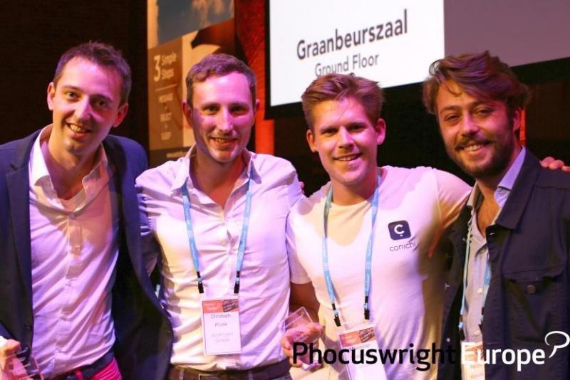 Los ganadores de la batalla de startups celebrada en el marco del Phocuswright Europe en Amsterdam.