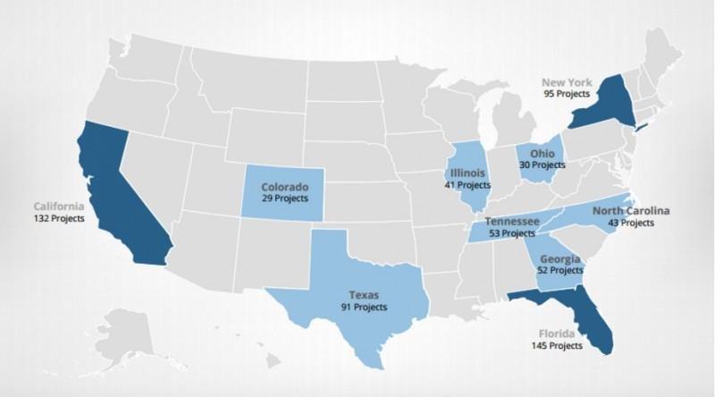 Mapa de las 10 ciudades que lideran la construcción de hoteles en Estados Unidos.