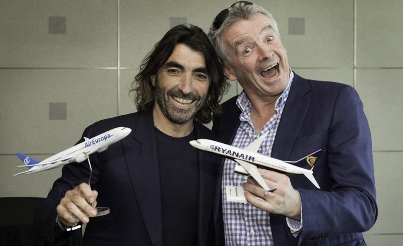 Javier Hidalgo y Michael O'Leary anunciaron el acuerdo entre Air Europa y Ryanair.