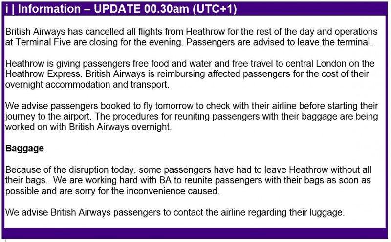 Comunicado del aeropuerto de Heathrow (en inglés) en la medianoche de Londres.