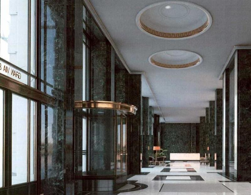 La recepción del hotel se ubicará en la planta baja del edificio, junto con el Lobby Bar y un Gastrobar. Imagen: Riu Hotels