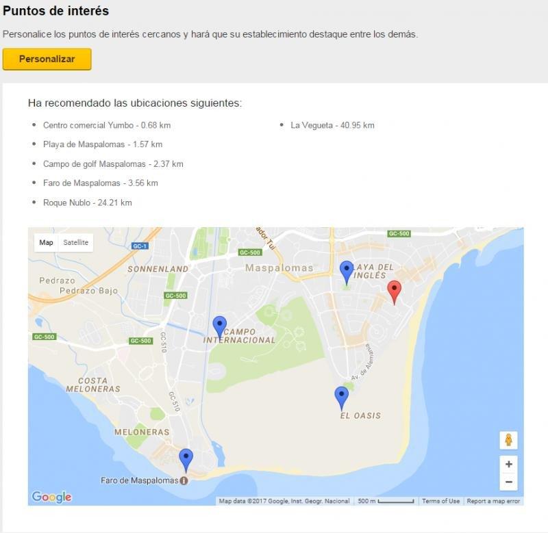 Ejemplo de los puntos de interés marcados en el sur de Gran Canaria.