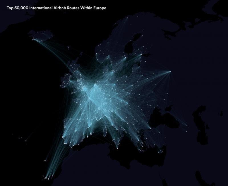 En esta infografía se muestran las 50.000 rutas de viaje más populares en Airbnb por Europa.