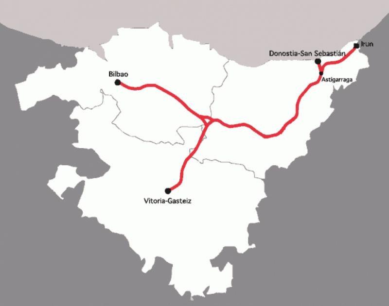 La alta velocidad conectará con la Y vasca en 2023